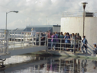 photo of people touring the facility