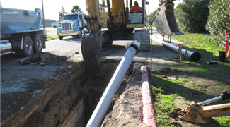 photo of sewer pipe installation